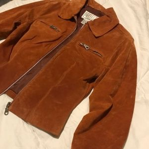 Vintage Retro 70's style Burnt Orange Suede Jacket
